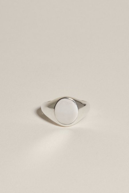 J. Hannah Oval Pinky Signet - Silver