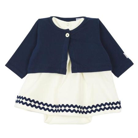 KIDS Petit Bateau Two Piece Set Short Sleeved Dress With Attached Bodysuit And Cardigan - Navy Blue