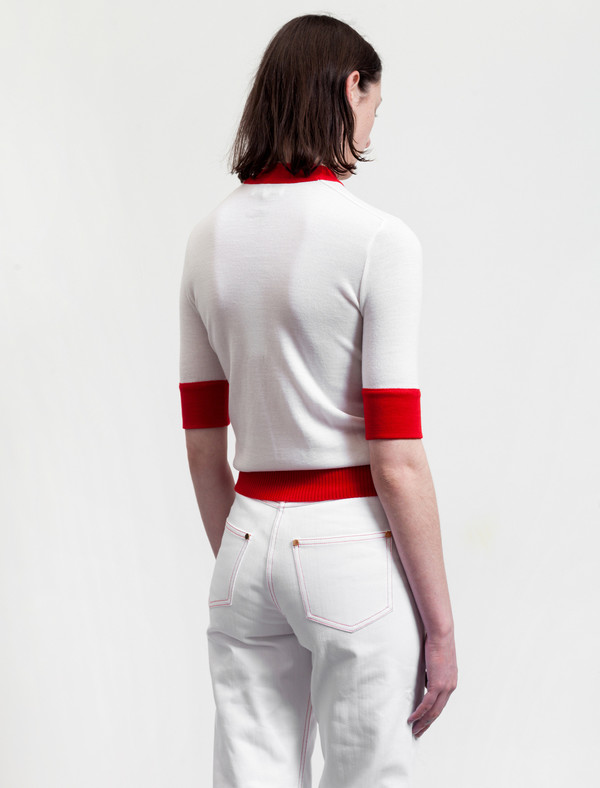 Etienne Deroeux Womens Mila Short Sleeve Red/White