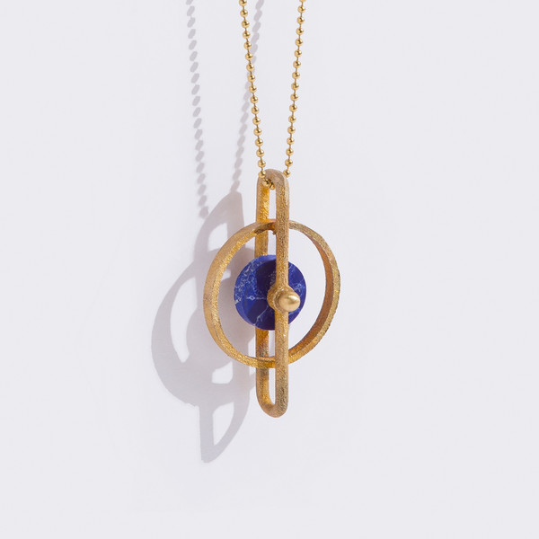 Metalepsis Projects Disc Pendant - Blue Stone
