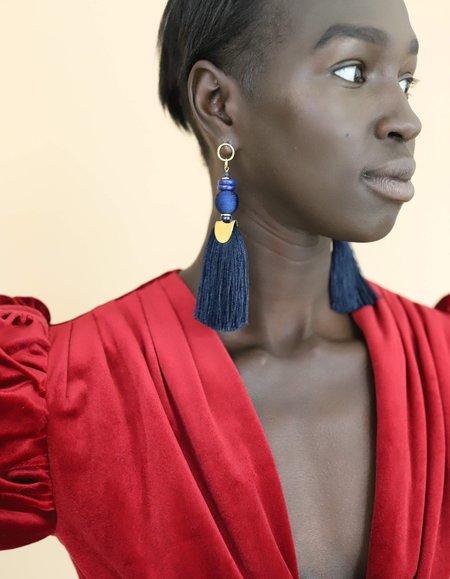 Nectar Nectar Gemstone Tassel Earrings - Royal