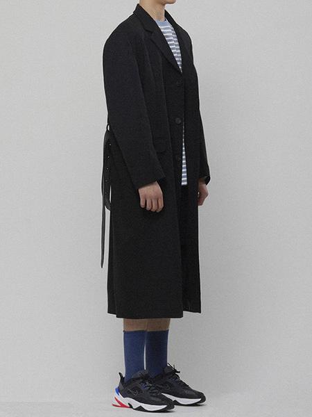 LIEU HOMME Belt Long Coat - Black