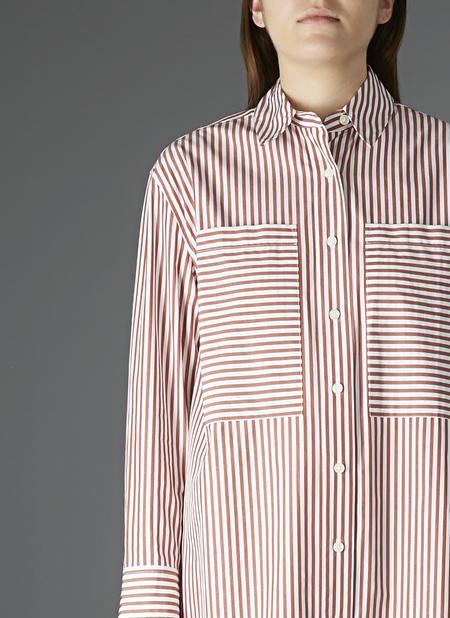 GREI TWO POCKET SHIRT DRESS - RED/WHITE STRIPE