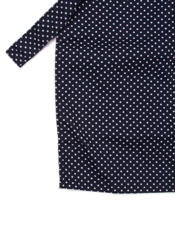 Long Apron Navy Printed Polka Dot