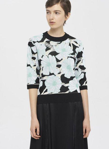 CLAUDIA LI Jacquard Knit T-Shirt - Green Buttercup