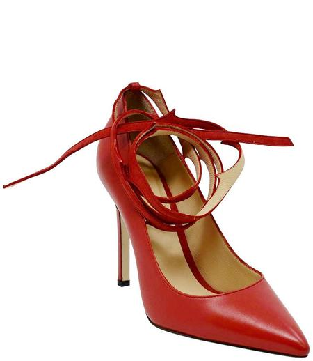 Eugene Riconneaus Leather Lace Pump - Red