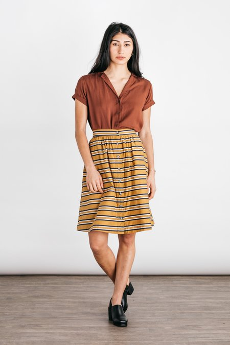 Bridge & Burn Opal A-Line Skirt - Gold Stripe