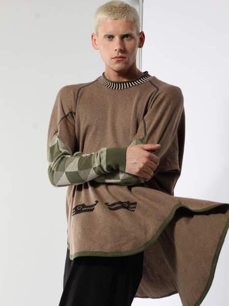 unisex Bernhard Willhelm Cat Sweater - Beige/green