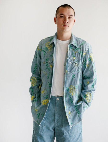 95405c3dc4d ... Engineered Garments Western Shirt - Denim Floral Embroidery