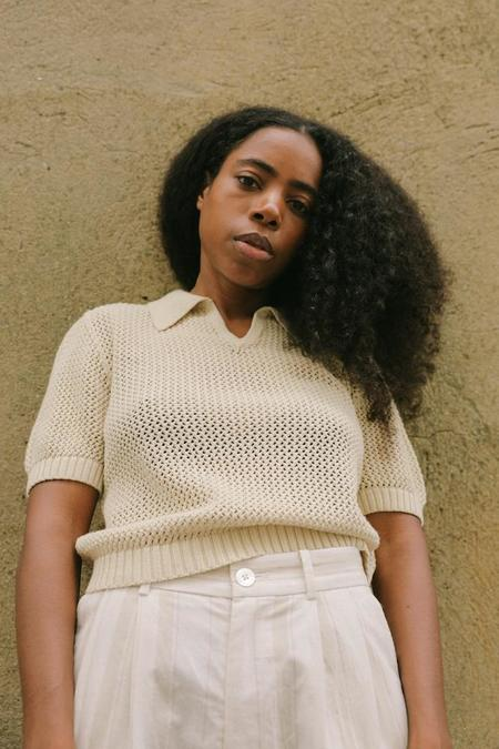 Kordal Cotton Cashmere Short Knitted Top - Cream
