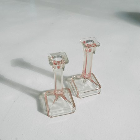 Leigh Collective VINTAGE Depression Glass Candlesticks - LIGHT PINK