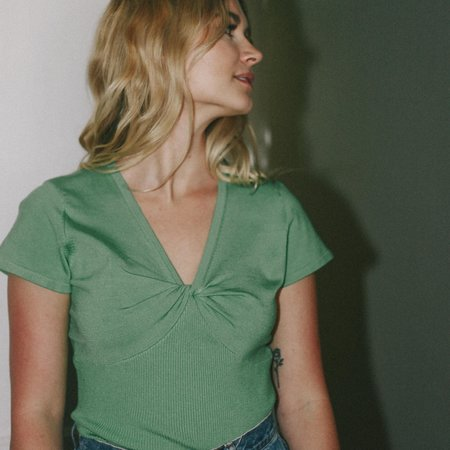 VINTAGE Leigh Collective Twist Top - Green Bean