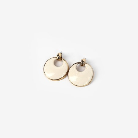 VINTAGE Leigh Collective Luna Earrings - Yellow Gold/White Enamel