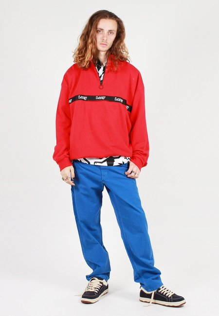 hidden Zip Up Sweatshirt - red