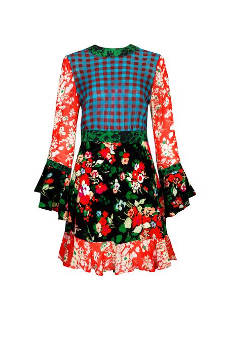 RIXO LONDON silk floral mini dress - Multi