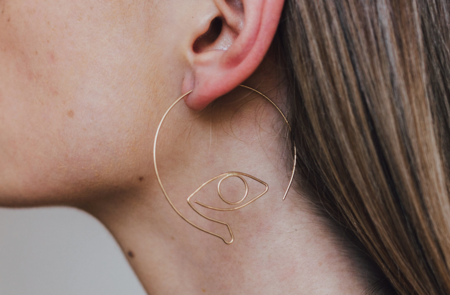 Golden Year Voyeur Earrings - Gold