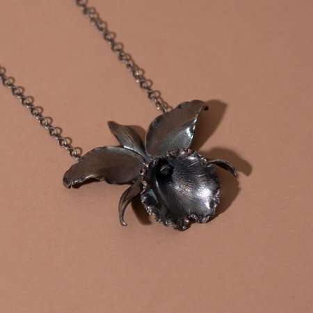 Arcana Obscura Cattleya Orchid Necklace - Oxidized Sterling Silver