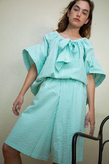 DÉSIRÉEKLEIN Loew Seersucker Culottes - Green Stripe