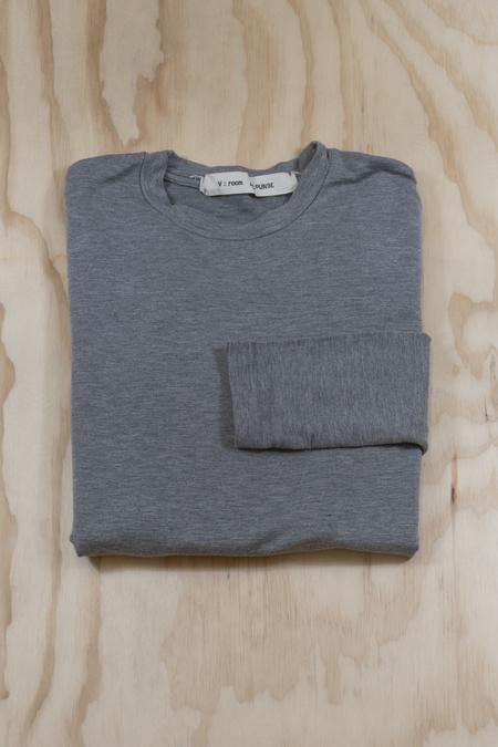 V ROOM Tencel Stretch Mini Fleece Long Sleeve Tee - HEATHER GREY