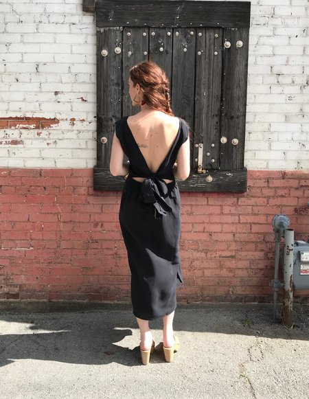 Ozma La Piedra Silk Linen Dress - Black