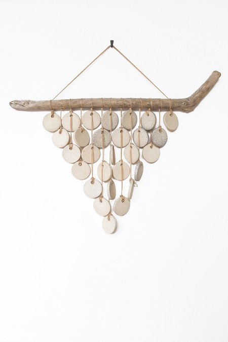 Heather Levine Medium Wall Hanging With Driftwood and Circles - Off White
