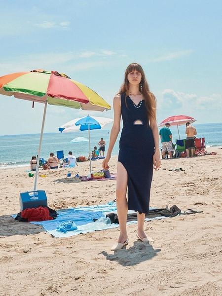 LEUNI Unbalance Sleeveless Dress - Navy Blue