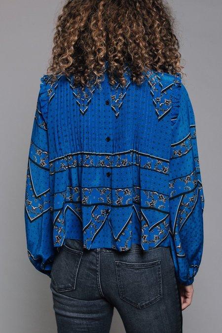 Ganni Sandwashed Silk Blouse - Lapis Blue