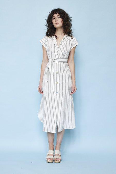Christine Alcalay Linen Cap Sleeve Tent Dress With Sash Belt