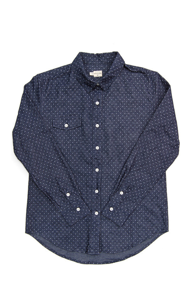 Bridge & Burn Bird Navy Polka Dot Shirt