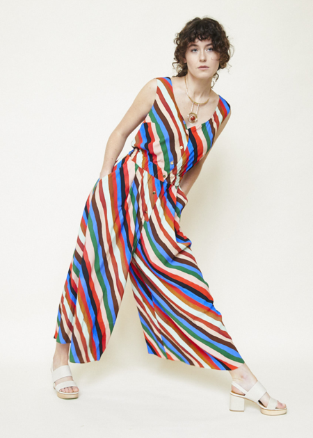 Tomcsanyi Zirc Sleeveless Jumpsuit - Multi Stripe