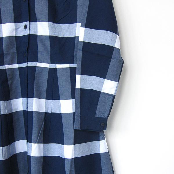 Kowtow Journal dress - navy/white check