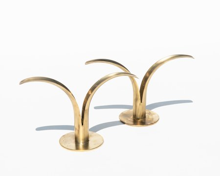 VINTAGE Collected by Wynne Ware Lily Candle Holders (Pair) - BRASS