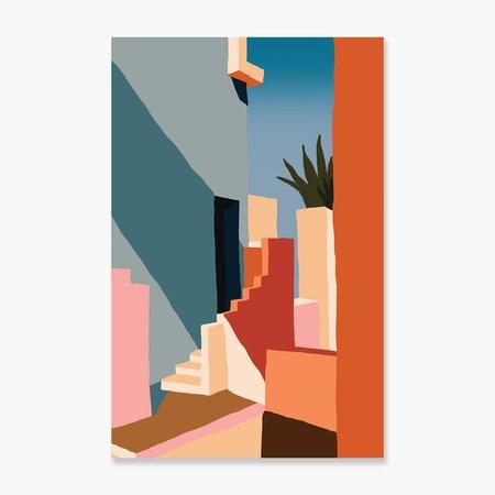 Slowdown Studio Tangerine Stairs Art Print