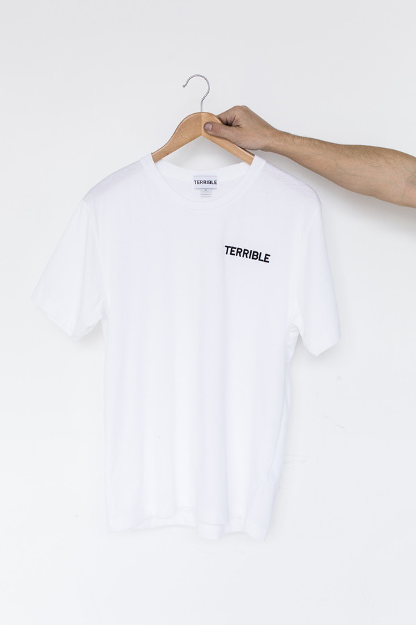 Men's Terrible Records Cotton Embroidered T-shirt - White