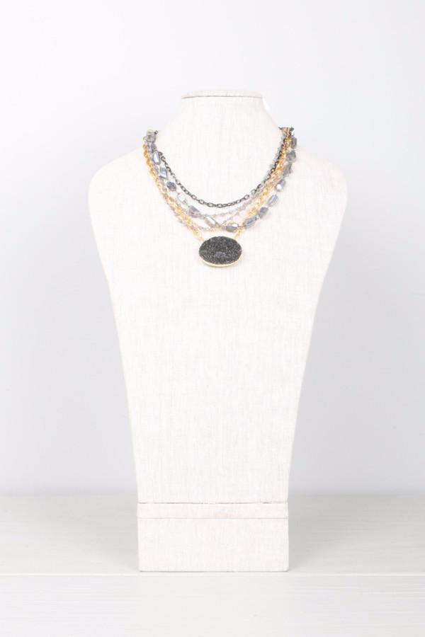 Mickey Lynn Labradorite Druzy Layered Necklace