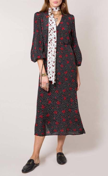 RIXO LONDON silk rose garden polka dot maxi dress - MULTI
