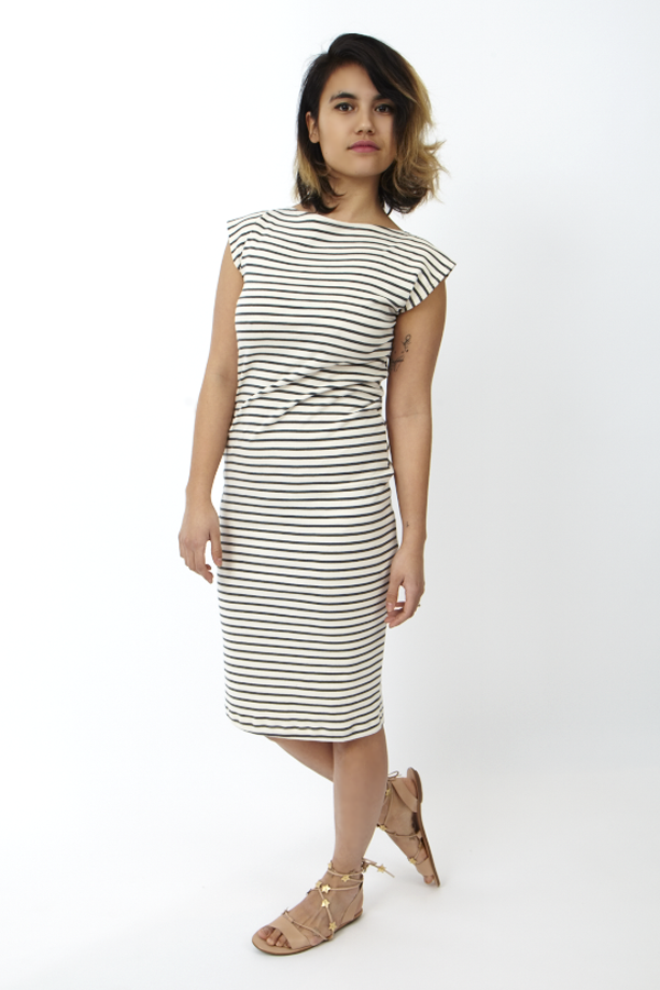 Study NY Twist Dress Natural Stripe