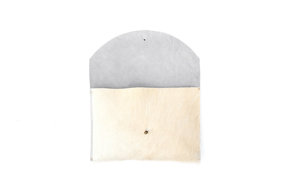Primecut NATURAL WHITE ENVELOPE CLUTCH