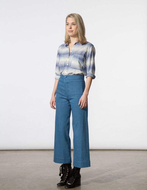 SBJ Austin Jane Top in Blue Ikat