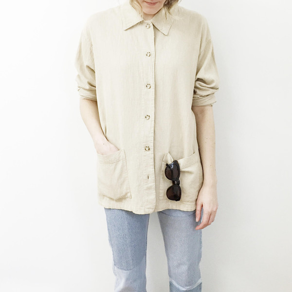 Oversized Tan Cotton Jacket