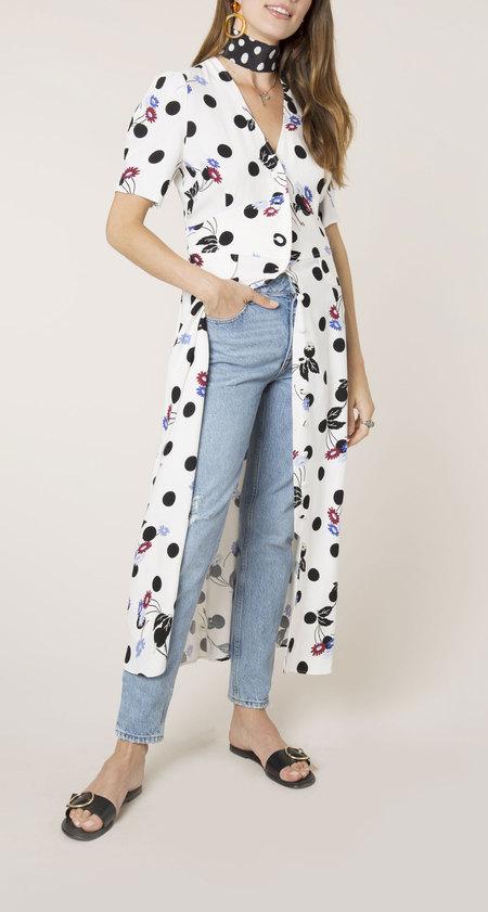 Rixo London polka dot floral maxi button down dress - MULTI