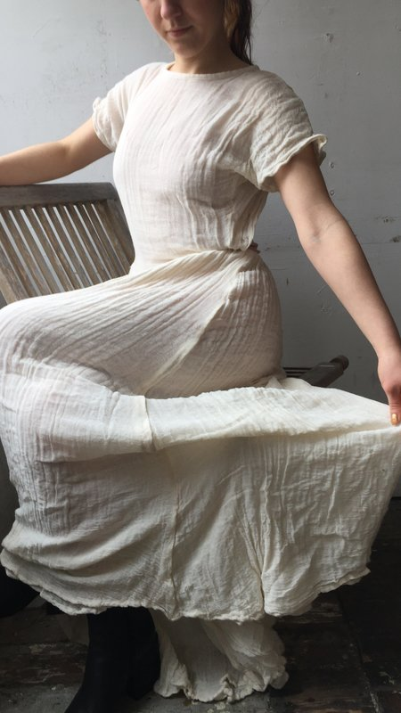 Cotton gauze v waist dress