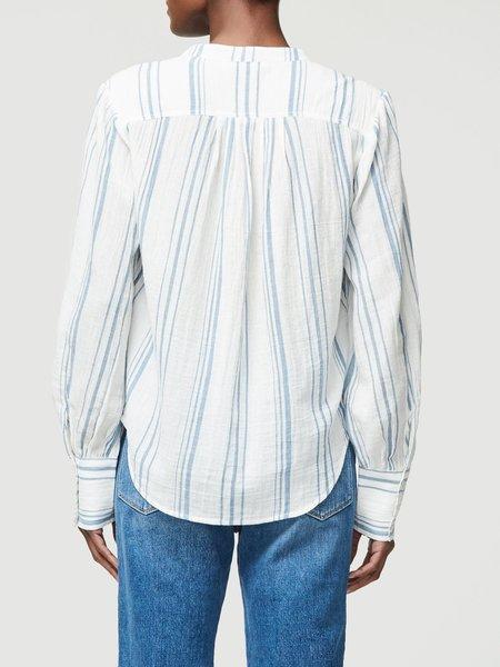 FRAME Denim Button Up Gauze Top - White/Multi