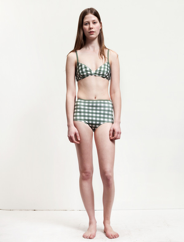 Solid and Striped Belle Top Olive/Cream Gingham