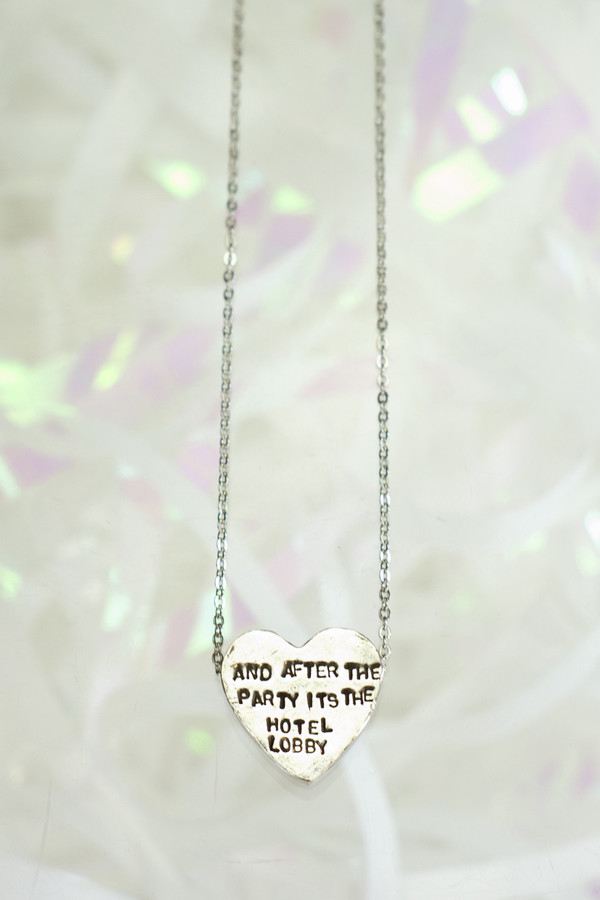 "ERICA WEINER Heartbeats Necklace ""And After The Party It's The Hotel Lobby"""