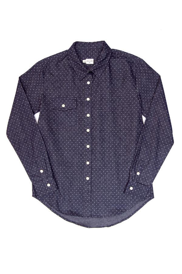 Bridge & Burn Bird Navy Polkadot Shirt