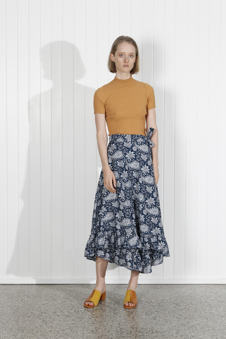 Apiece Apart Feliz Wrap Skirt - Navy