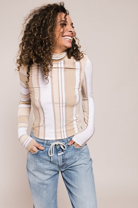 Ganni Striped Jersey Rollneck - Beige