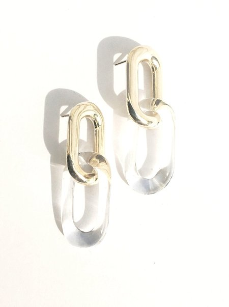 Jane D'Arensbourg Oval Sterling & Glass Link Earrings