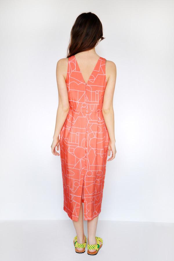 Dusen Dusen Blockhead Red V Neck Dress